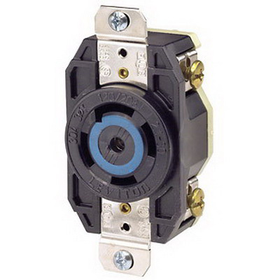 Leviton 2810 V-0-MAX™ Twist Locking Single Receptacle; Flush Mount, 120/208 Volt, 30 Amp, 4-Pole, 5-Wire, NEMA L21-30R, Black