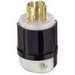 Leviton 2811 Black & White® Polarized Grounding Locking Plug; 30 Amp, 120/208 Volt, 4-Pole, 5-Wire, NEMA L21-30P, Black/White