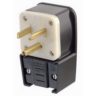 Leviton 9530-P Grounding Straight Blade Angle Power Plug; 30 Amp, 125 Volt, 2-Pole, 3-Wire, NEMA 5-30P, Black