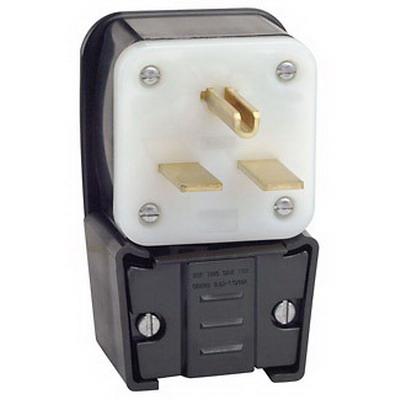 Leviton 9630-P Grounding Straight Blade Angle Plug; 30 Amp, 250 Volt, 2-Pole, 3-Wire, NEMA 6-30P
