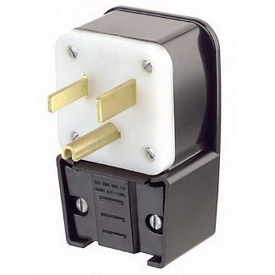 Leviton 9550-P Grounding Straight Blade Angle Power Plug; 50 Amp, 125 Volt, 2-Pole, 3-Wire, NEMA 5-50P, Black