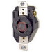 Leviton 2340 V-0-MAX™ Locking Single Receptacle; Flush Mount, 480 Volt, 20 Amp, 2-Pole, 3-Wire, NEMA L8-20R, Black