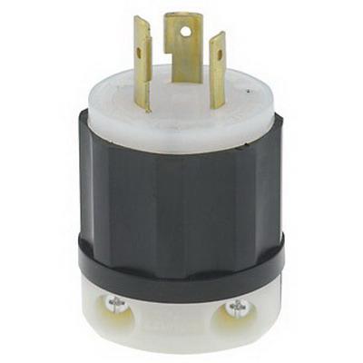 Leviton 2341 Black & White® Polarized Grounding Locking Plug; 20 Amp, 480 Volt, 2-Pole, 3-Wire, NEMA L8-20P, Black/White
