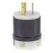 Leviton 2331 Black & White® Polarized Grounding Locking Plug; 20 Amp, 277 Volt, 2-Pole, 3-Wire, NEMA L7-20P, Black/White