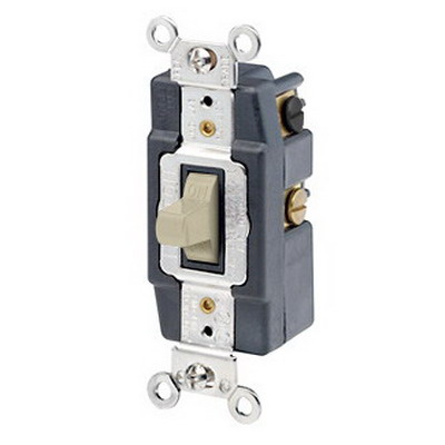 Leviton 1288-I Toggle AC Quiet Wall Switch; 2-Pole, DPDT, 120/277 Volt AC, 30 Amp, Ivory