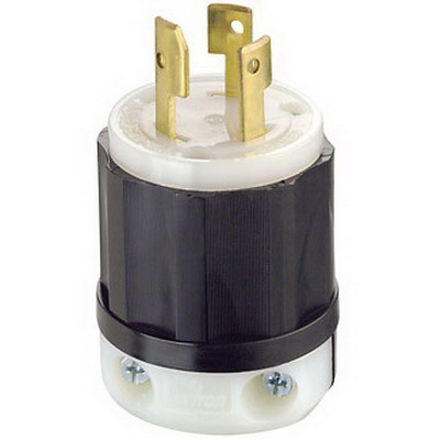 Leviton 3331-C Black & White® Polarized Non-Grounding Locking Plug; 30 Amp, 125/250 Volt, 3-Pole, 3-Wire, Black/White