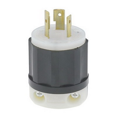 Leviton 2381 Black & White® Polarized Non-Grounding Locking Plug; 20 Amp, 480 Volt, 3-Pole, 3-Wire, NEMA L12-20P, Black/White