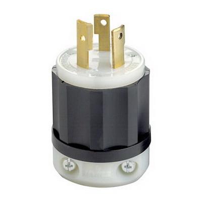 Leviton 2671 Black & White® Polarized Non-Grounding Locking Plug; 30 Amp, 250 Volt, 3-Pole, 3-Wire, NEMA L11-30P, Black/White