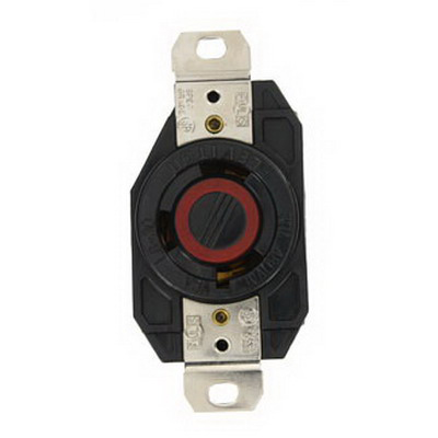 Leviton 2640 V-0-MAX™ Locking Receptacle; Box/Flush Mount, 480 Volt, 30 Amp, 2-Pole, 3-Wire, NEMA L8-30R, Black