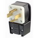 Leviton 9462-P Grounding Straight Blade Angle Power Plug; 60 Amp, 125/250 Volt, 3-Pole, 4-Wire, NEMA 14-60P, Black