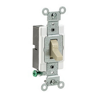 Leviton CS115-2I Commercial Toggle AC Quiet Light Switch; 1-Pole, 120/277 Volt AC, 15 Amp, Ivory