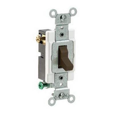 Leviton CS315-2 Commercial Toggle 3-Way AC Quiet Switch; 1-Pole, 120/277 Volt AC, 15 Amp, Brown