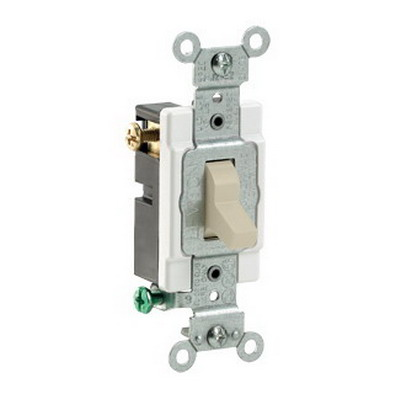 Leviton CS315-2I Commercial Toggle 3-Way AC Quiet Switch; 1-Pole, 120/277 Volt AC, 15 Amp, Ivory