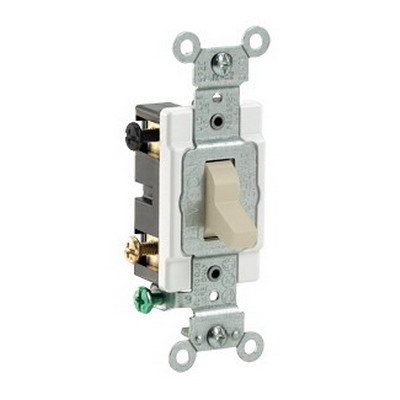 Leviton CS415-2I Commercial Toggle 4-Way AC Quiet Switch; 2-Pole, 120/277 Volt AC, 15 Amp, Ivory