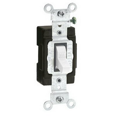 Leviton 5501-LHW Commercial Toggle Lighted Handle AC Quiet Switch; 1-Pole, 120 Volt AC, 15 Amp, White
