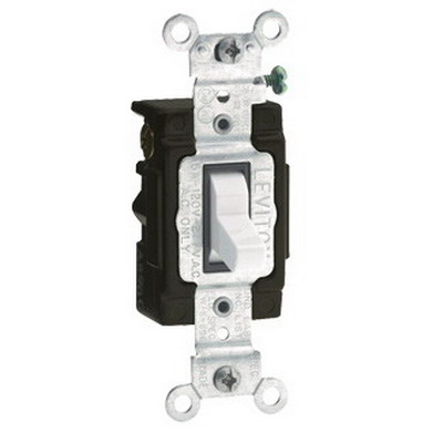 Leviton 5503-LHW Commercial Toggle Lighted Handle 3-Way AC Quiet Switch; 120 Volt AC, 15 Amp, White