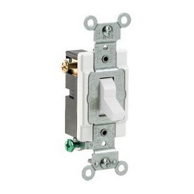 Leviton CS315-2W Commercial Toggle 3-Way AC Quiet Switch; 1-Pole, 120/277 Volt AC, 15 Amp, White