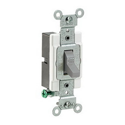Leviton CS115-2GY Commercial Toggle AC Quiet Switch; 1-Pole, 120/277 Volt AC, 15 Amp, Gray