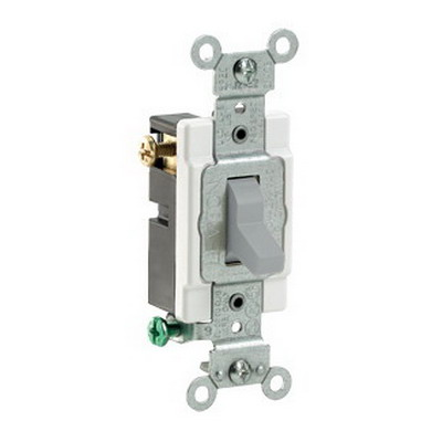 Leviton CS315-2GY Commercial Toggle 3-Way AC Quiet Switch; 1-Pole, 120/277 Volt AC, 15 Amp, Gray