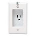 Leviton 688-W 1-Gang Square Recessed Single Receptacle with Clock Hanger Hook; Flush, Wall Mount, 125 Volt, 15 Amp, 2-Pole, 3-Wire, NEMA 5-15R, White