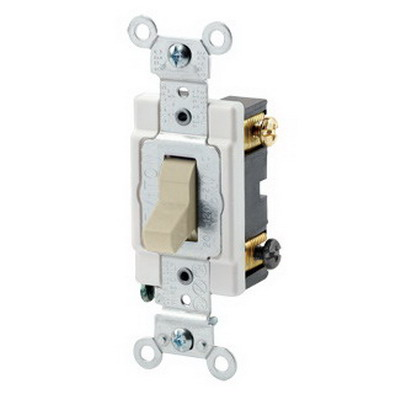 Leviton CSB3-20I Commercial Toggle 3-Way AC Quiet Switch; 1-Pole, 120/277 Volt AC, 20 Amp, Ivory