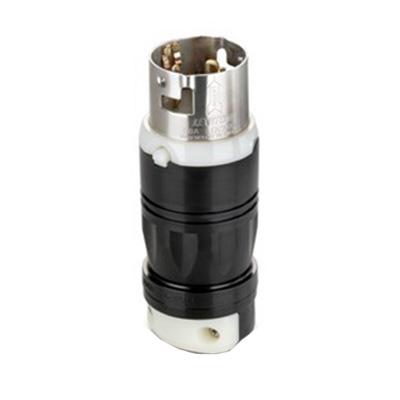 Leviton 3765C Black & White® Standard Polarized Power Grounding Locking Plug; 50 Amp, 600 Volt AC/250 Volt DC, 3-Pole, 4-Wire, Black/White