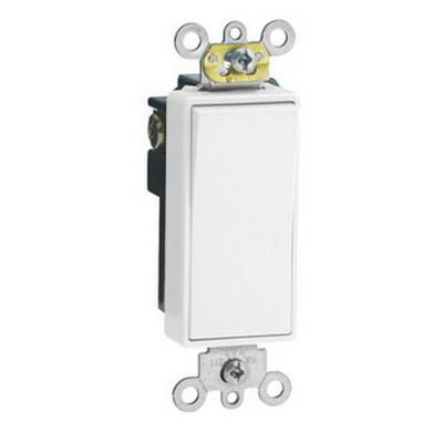 Leviton 5691-2W Decora® Commercial Rocker AC Quiet Switch; 1-Pole, 120/277 Volt AC, 15 Amp, White
