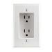 Leviton 689-W 1-Gang Recessed Duplex Receptacle; Flush, Wall Mount, 125 Volt, 15 Amp, 2-Pole, 3-Wire, NEMA 5-15R, White