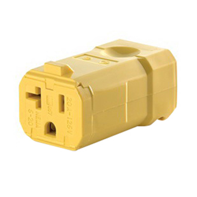 Leviton 5359-VY Python® Grounding Polarized Straight Blade Connector; 20 Amp, 125 Volt AC, 2-Pole, 3-Wire, NEMA 5-20R, Yellow