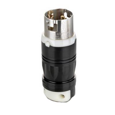 Leviton CS8265C Black & White® #2CD California Standard Style Grounding Locking Plug; 50 Amp, 250 Volt, 2-Pole, 3-Wire, Black/White