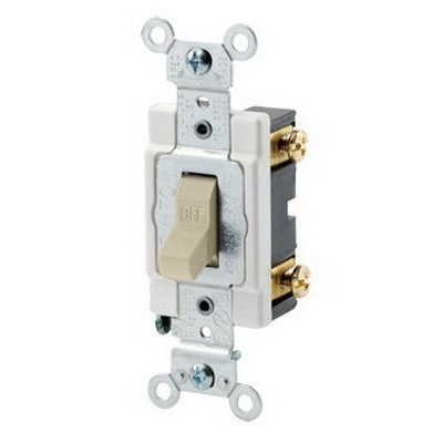 Leviton CSB1-15I Commercial Toggle AC Quiet Switch; 1-Pole, 120/277 Volt AC, 15 Amp, Ivory