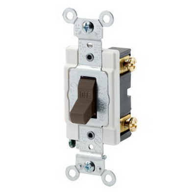 Leviton CSB1-20 Commercial Toggle AC Quiet Switch; 1-Pole, 120/277 Volt AC, 20 Amp, Brown