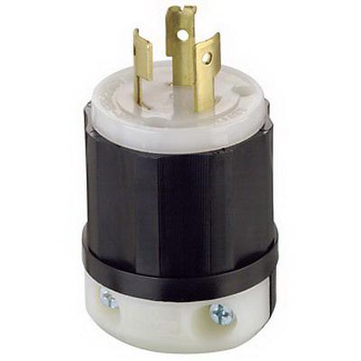 Leviton 9965-C Black & White® Polarized Non-Grounding Locking Plug; 20 Amp, 125/250 Volt, 3-Pole, 3-Wire, Black/White