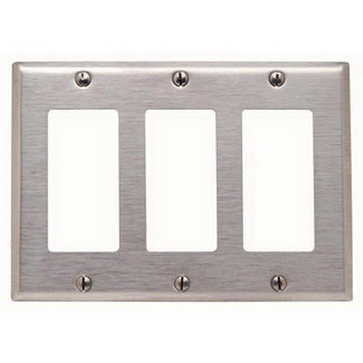 Leviton 84411-40 Decora® Standard Size 3-Gang Single Receptacle Plate; Device Mount, 302 Stainless Steel