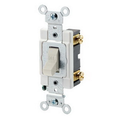 Leviton CSB1-20T Commercial Toggle AC Quiet Switch; 1-Pole, 120/277 Volt AC, 20 Amp, Light Almond