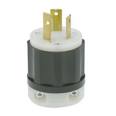 Leviton 2681 Black & White® Polarized Non-Grounding Locking Plug; 30 Amp, 480 Volt, 3-Pole, 3-Wire, NEMA L12-30P, Black/White