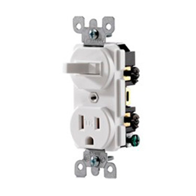 Leviton T5225-W Decora® AC Duplex Combination Switch with Receptacle; 120 Volt AC Switch, 125 Volt AC Receptacle, 15 Amp, 1-Pole, Grounding, White