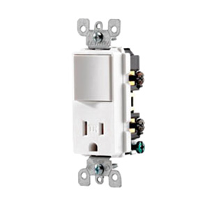 Leviton T5625-W Decora® Combination Switch with Receptacle; 120 Volt AC, 15 Amp, 1-Pole, White