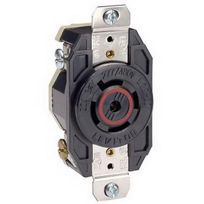 Leviton 2520 V-0-MAX™ #2CD Locking Receptacle; Box/Flush Mount, 277/480 Volt, 20 Amp, 4-Pole, 5-Wire, NEMA L22-20R, Black