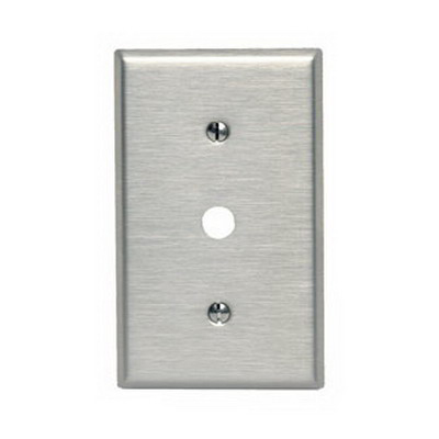 Leviton 84018-40 Standard Size 1-Gang Wallplate; Strap Mount, 302 Stainless Steel