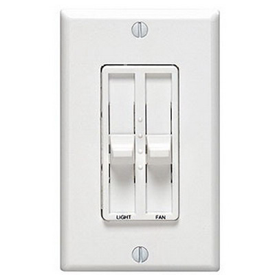 Leviton 6630-W SureSlide Electro-Mechanical Combo Fan Speed Dimmer Control; 120 Volt AC, 1.5 Amp, 300 Watt, 1 Pole, Slide Switch On/Off, White