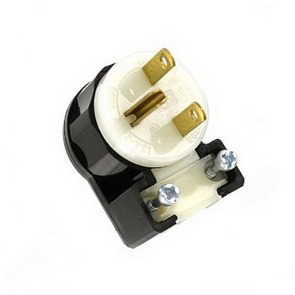 Leviton 5666-CA Black & White® Polarized Grounding Straight Blade Angle Plug; 15 Amp, 250 Volt, 2-Pole, 3-Wire, NEMA 6-15P, Black/White