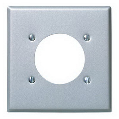 Leviton S701-GY Standard Size 2-Gang Single Receptacle Plate; Device Mount, Steel, Aluminum