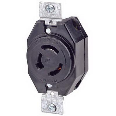 Leviton 7310-B Locking Single Receptacle; Flush Mount, 125/250 Volt AC, 20 Amp, 3-Pole, 3-Wire, Black
