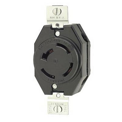 Leviton 7410-B Locking Single Receptacle; Flush Mount, 120/208 Volt AC, 20 Amp, 4-Pole, 4-Wire, Black