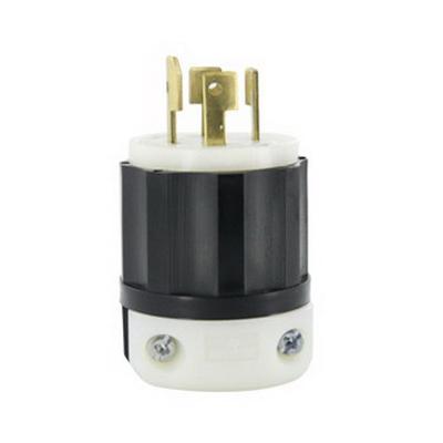 Leviton 3431-C Black & White® Polarized Non-Grounding Twist Locking Plug; 30 Amp, 120/208 Volt, 4-Pole, 4-Wire, Black/White