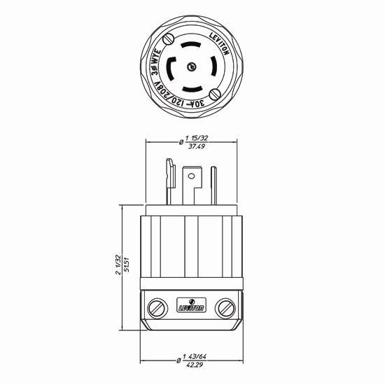 leviton 3431-c twist lock plugs