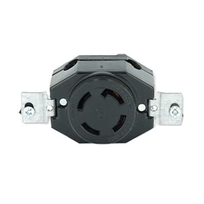 Leviton 3430 Locking Single Receptacle; Flush Mount, 120/208 Volt, 30 Amp, 4-Pole, 4-Wire, Black