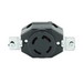Leviton 3430 Locking Single Receptacle; Flush Mount, 120/208 Volt, 30 Amp, 4-Pole, 4-Wire, Black