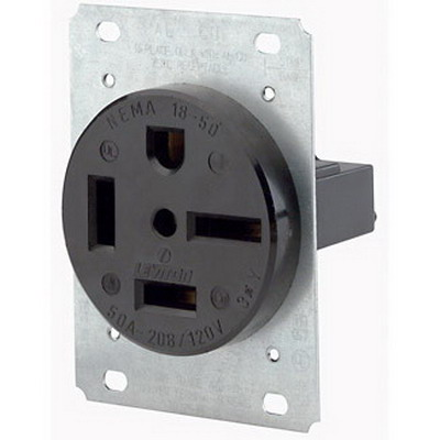 Leviton 8460 Industrial Grade Straight Blade Power Receptacle; Flush Mount, 250 Volt, 60 Amp, 3-Pole, 4-Wire, NEMA 15-60R, Black